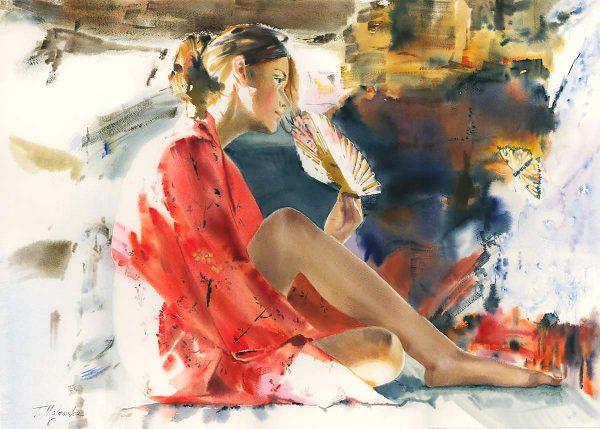 Majewska Tatiana obrazy akwarela akty portret córki