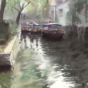 akwarela obrazy chiny Azja Minh dam