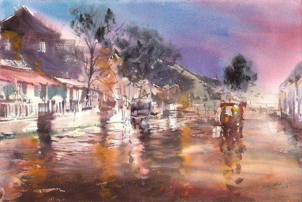 Xitang Chiny obrazy akwarela pejzaż Minh