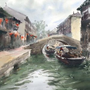 zhouzhuang azja obrazy akwarela Minh dam