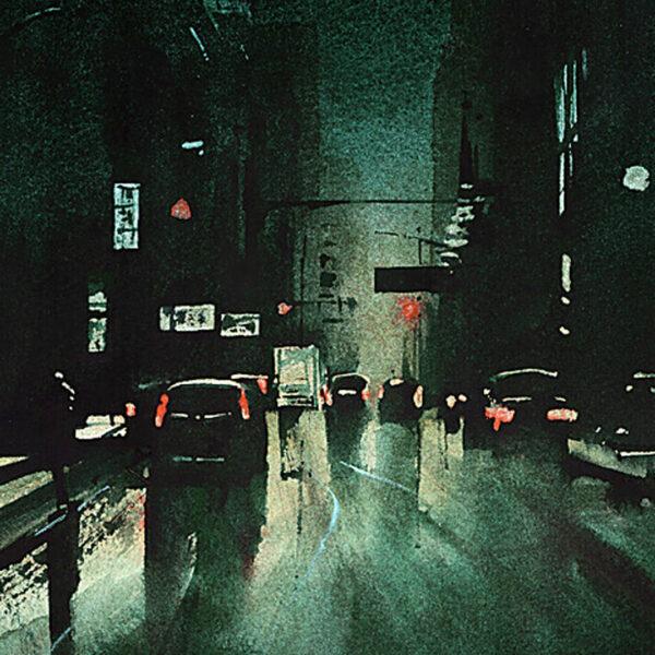 Detal w akwareli, obraz miasto nocą, klimatyczny obraz