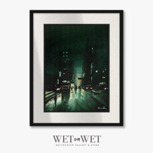 Oprawiony obraz akwarelowy. Miasto nocą. Klimatyczny obraz do mieszkania
