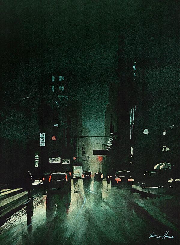Obraz akwarelowy, obraz miasto nocą, klimatyczny obraz, technika akwarela