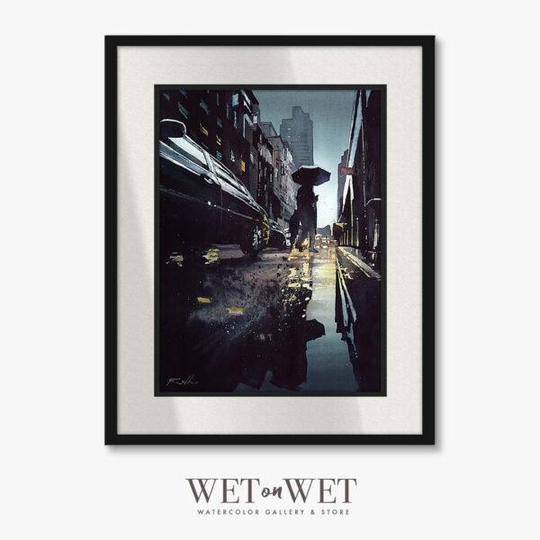 Obraz akwarelowy, miasto odbicie w wodzie. Klimatyczny obraz do domu