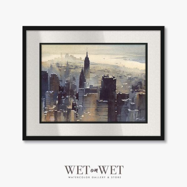 Oprawiony obraz akwarelowy, miasto Nowy York, Manhattan. Klimatyczny obraz do mieszkania