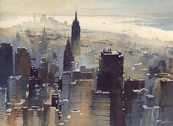 Obraz akwarelowy, miasto Nowy York, Manhattan. Klimatyczny obraz do domu